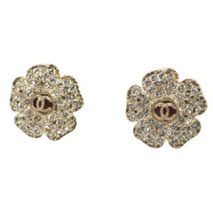 CHANEL coco mark Flower GP Womens earrings gold x red
