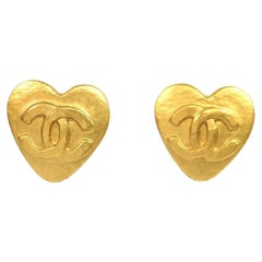 CHANEL coco mark heart GP Womens earrings gold