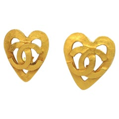 CHANEL coco mark heart large GP Womens earrings gold