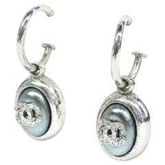 CHANEL coco mark hoop Swing metal Womens Earrings silver
