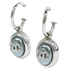CHANEL coco mark hoop Swing metal Womens Earrings silver