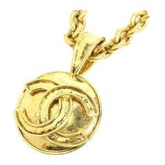 CHANEL coco mark large pendant vintage GP necklace