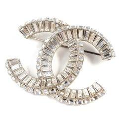 CHANEL COCO mark line stone metal brooch silver
