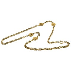 CHANEL coco mark long necklace GP necklace