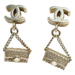 CHANEL COCO mark matelasse motif GP Womens Earrings champagne-gold