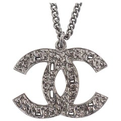 CHANEL coco mark metal necklace silver