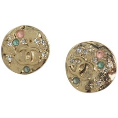 CHANEL coco mark multi color stone circle GP Womens Earrings gold x multi color