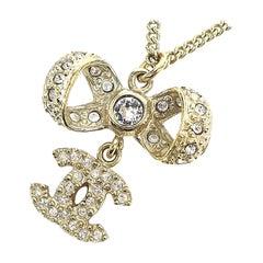 CHANEL coco mark ribbon 2way GP necklace Mat gold