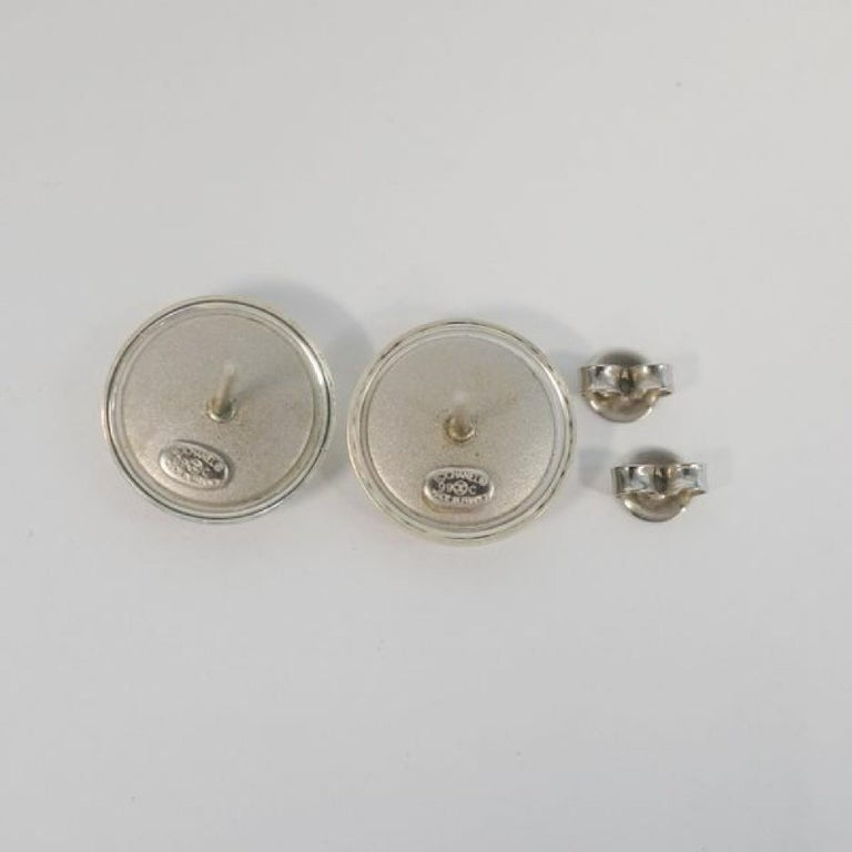 Women's CHANEL coco mark round metal plastic Womens Earrings A11780Y02019 silver For Sale