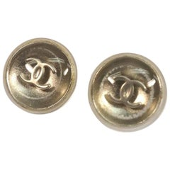 CHANEL coco mark round metal plastic Womens Earrings A11780Y02019 silver