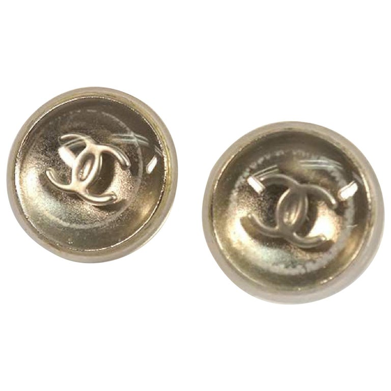 CHANEL coco mark round metal plastic Womens Earrings A11780Y02019 silver For Sale