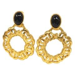 CHANEL coco mark Swing hoop large GP Womens earrings gold