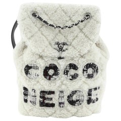 Chanel Coco Neige Flap Backpack Quilted Shearling with Tweed Small