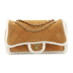 Chanel Coco Neige Flap Bag Quilted Suede with Shearling Large