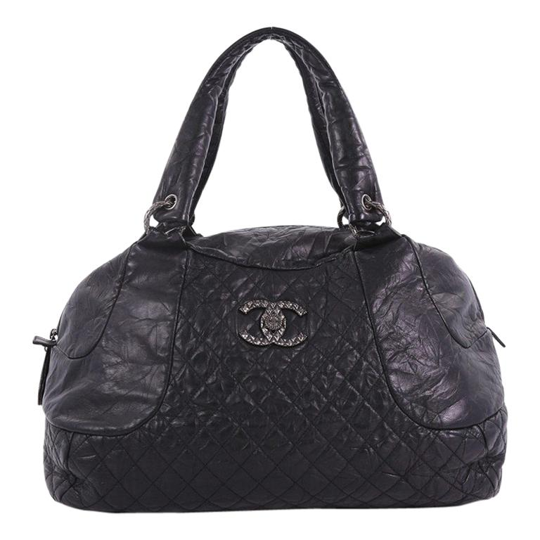 429a0c158624 Chanel Coco Rider Bowler Bag Quilted Aged Calfskin Large For Sale at ...