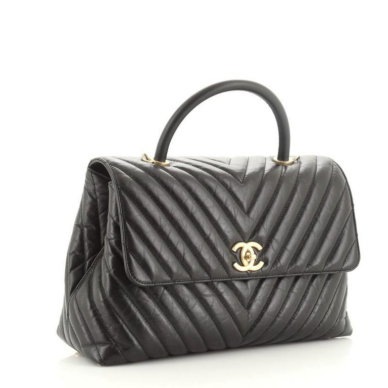 Chanel Coco Top Handle Bag Chevron Calfskin Large In Good Condition For Sale In New York, NY
