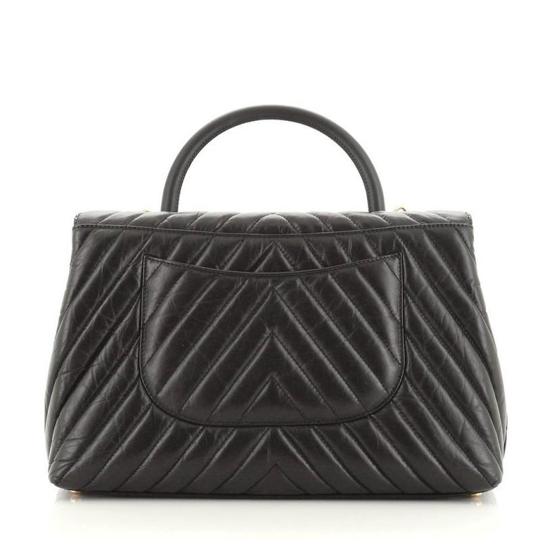 Women's or Men's Chanel Coco Top Handle Bag Chevron Calfskin Large For Sale