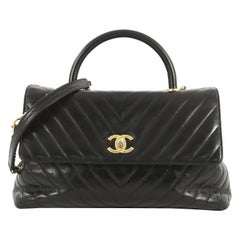 Chanel Coco Top Handle Bag Chevron Calfskin Large