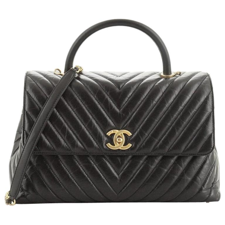 Chanel Coco Top Handle Bag Chevron Calfskin Large For Sale