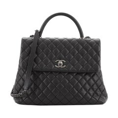 Chanel Coco Top Handle Bag Quilted Caviar Large