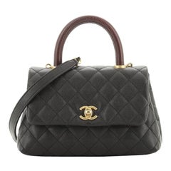 Chanel Coco Top Handle Bag Quilted Caviar with Lizard Mini