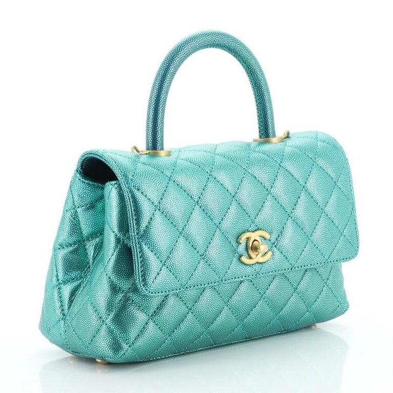 Blue Chanel Coco Top Handle Bag Quilted Iridescent Caviar Mini