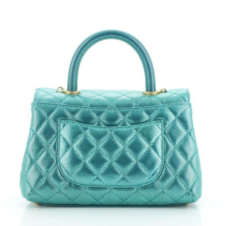 Chanel Coco Top Handle Bag Quilted Iridescent Caviar Mini In Good Condition In New York, NY