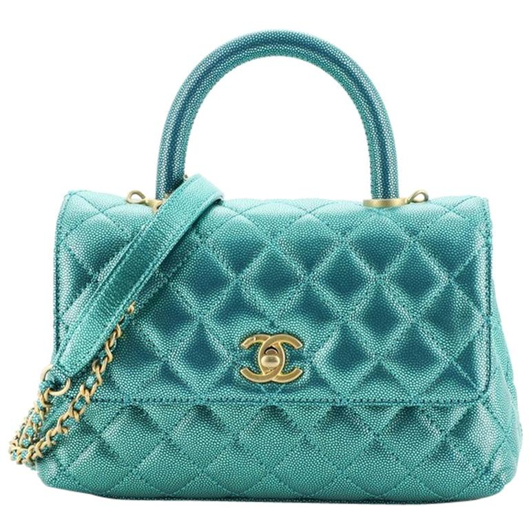 Chanel Coco Top Handle Bag Quilted Iridescent Caviar Mini