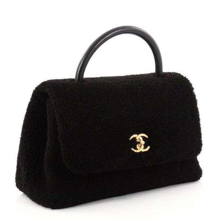 32679315c08e Black Chanel Coco Top Handle Bag Shearling Medium For Sale