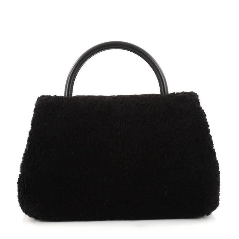 4597d5d363a4 Chanel Coco Top Handle Bag Shearling Medium In Excellent Condition For Sale  In New York,