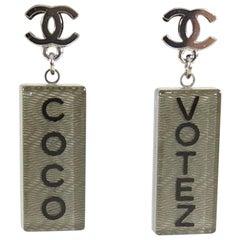 Chanel Coco Votez Grey Resin CC Logo Drop Earrings
