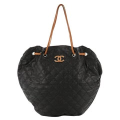Chanel Cocomark Drawstring Tote Quilted Caviar