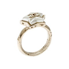 Chanel Cocomark Star Gold Tone Ring Size 53