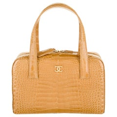 Chanel Cognac Alligator Exotic Leather Silver Top Handle Satchel Tote Bag in Box