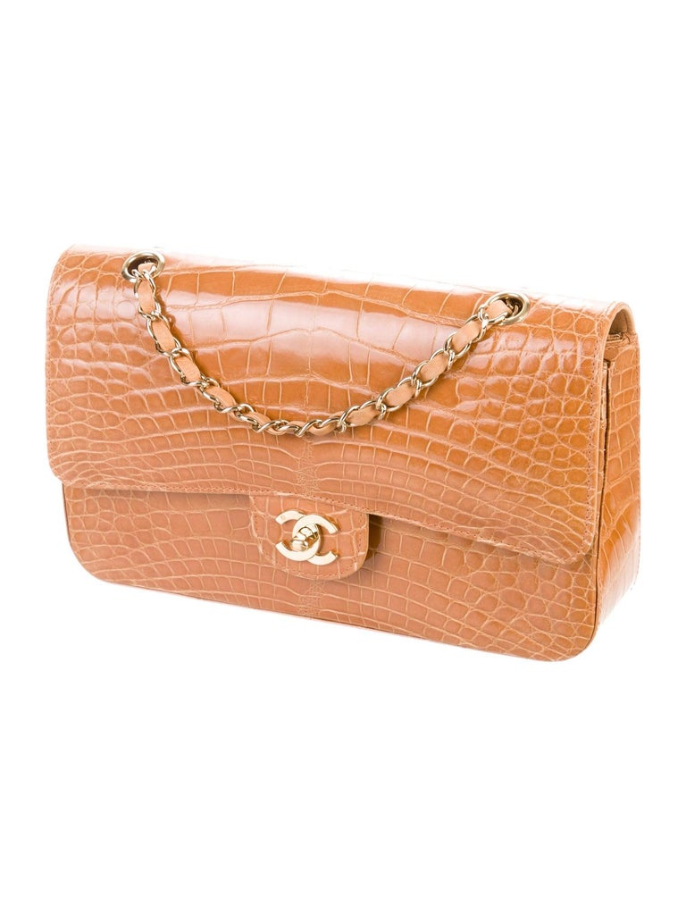 Chanel Cognac Alligator Exotic Skin Leather Gold Evening Shoulder Flap Bag  In Good Condition For Sale In Chicago, IL