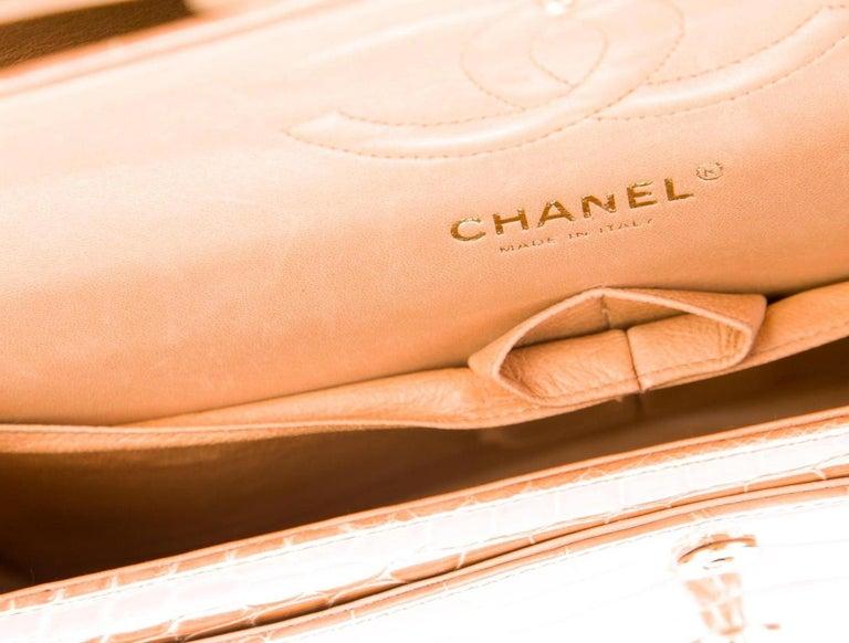 Women's Chanel Cognac Alligator Exotic Skin Leather Gold Evening Shoulder Flap Bag  For Sale