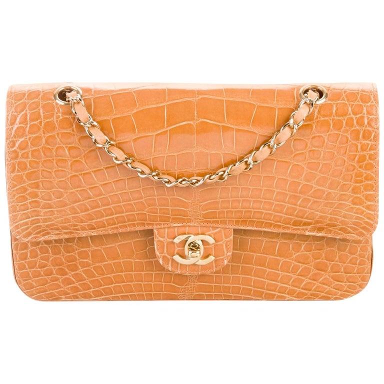 Chanel Cognac Alligator Exotic Skin Leather Gold Evening Shoulder Flap Bag  For Sale