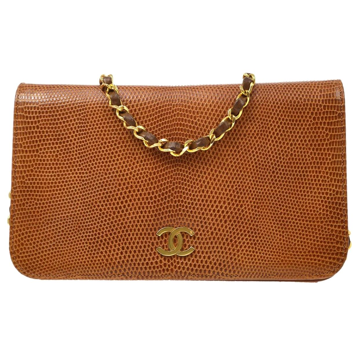 Chanel Cognac Brown Lizard Leather Exotic Leather Gold Small Shoulder Flap Bag