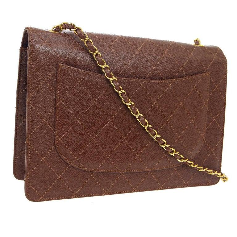 Women's Chanel Cognac Chocolate Leather Gold Large Jumbo Evening Shoulder Flap Bag For Sale
