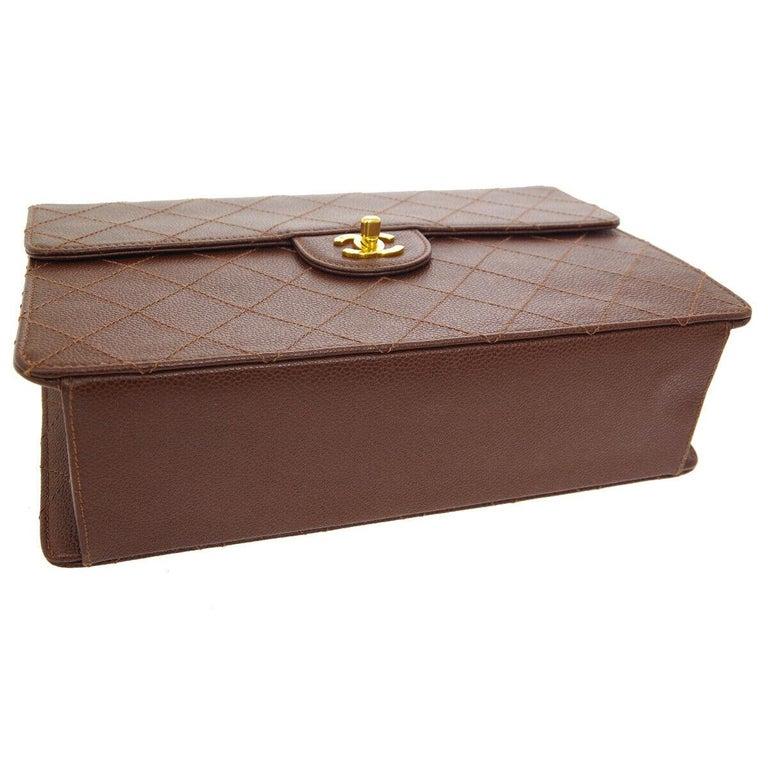 Chanel Cognac Chocolate Leather Gold Large Jumbo Evening Shoulder Flap Bag For Sale 1