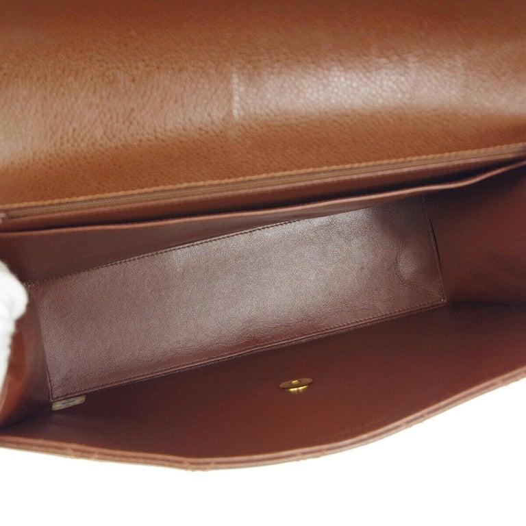 Chanel Cognac Chocolate Leather Gold Large Jumbo Evening Shoulder Flap Bag For Sale 2
