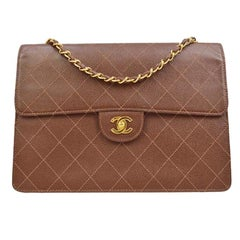 Chanel Cognac Chocolate Leather Gold Large Jumbo Evening Shoulder Flap Bag