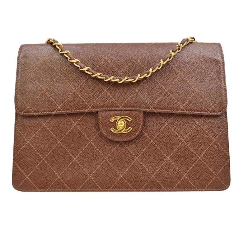 Chanel Cognac Chocolate Leather Gold Large Jumbo Evening Shoulder Flap Bag For Sale