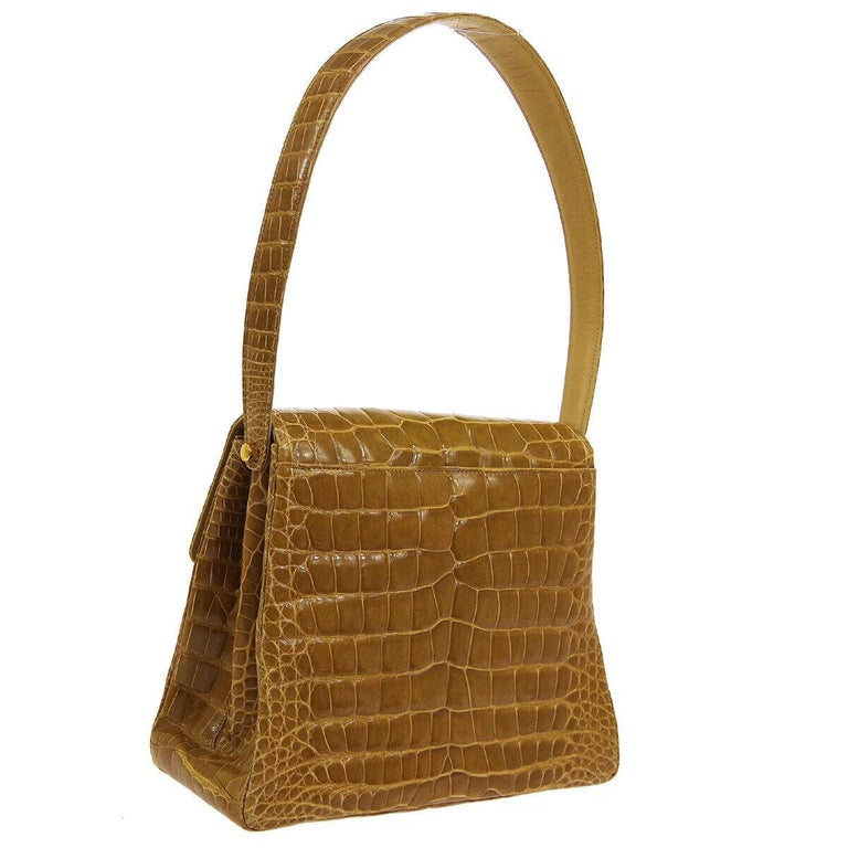Chanel Cognac Crocodile Exotic Skin Leather Kelly Evening Shoulder Flap Bag In Good Condition For Sale In Chicago, IL