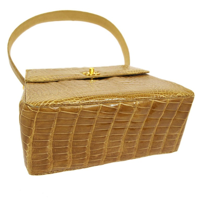 Women's Chanel Cognac Crocodile Exotic Skin Leather Kelly Evening Shoulder Flap Bag For Sale