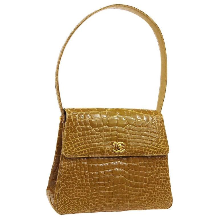 Chanel Cognac Crocodile Exotic Skin Leather Kelly Evening Shoulder Flap Bag For Sale