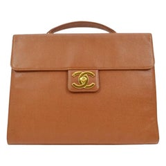 Chanel Cognac Leather Carryall Business Top Handle Travel Brief Briefcase Bag