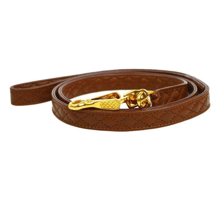 Brown Chanel Cognac Leather Gold Charm Walking Pet Leash For Sale