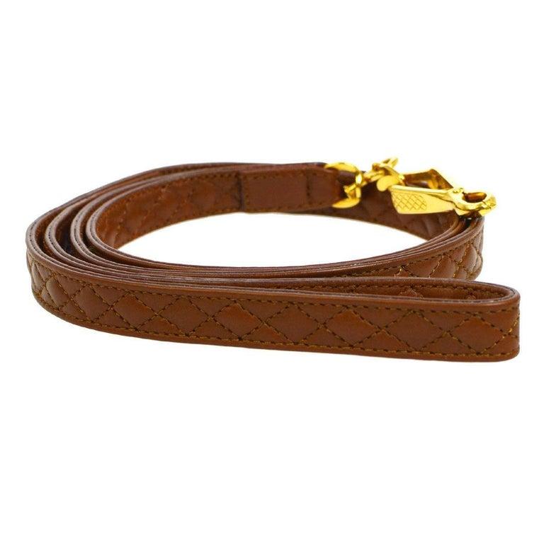 Chanel Cognac Leather Gold Charm Walking Pet Leash For Sale