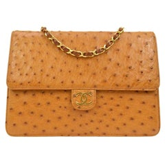 Chanel Cognac Ostrich Exotic Leather Gold Single Evening Shoulder Flap Bag